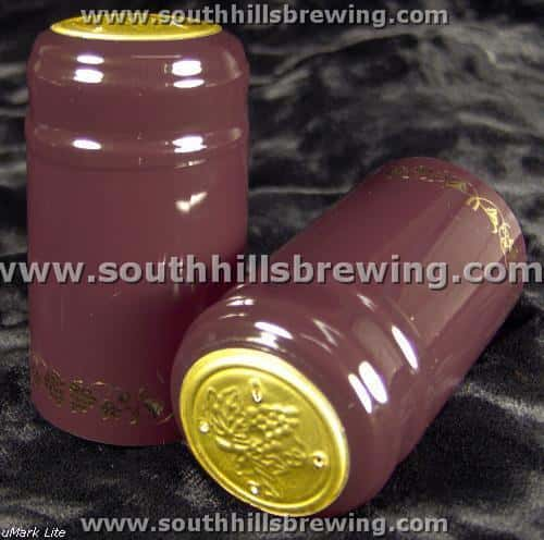 Shrink Capsule-Burgundy w/Gold Grapes (500 pack)
